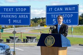 NY Governor Andrew Cuomo discusses state initiative to provide more places to pull over and text while driving on the NY State Thruway