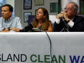 From left to right: Researcher Christopher Gobler, Environmentalist Adrienne Esposito and Pine Barrens Society's RIchard Ampher