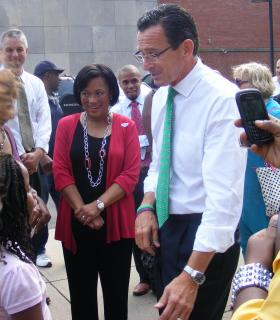 Primary winner Toni Harp with Governor Dannel Malloy