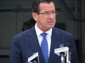 Gov. Dannel Malloy speaking at Oxford Airport
