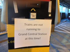 A sign in the Stamford train station garage Wednesday morning. Diesel trains are now running hourly to and from Grand Central.