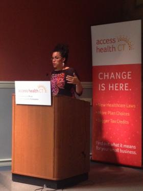 Danielle Williams of Access Health CT at a recent Healthy Chat forum in New Haven.