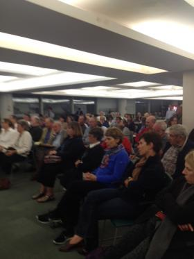Audience members at the Stamford planning board meeting on a controversial license agreement on September 24, 2013 (file photo).