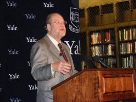 Yale Prof. James E. Rothman speaking at the Yale School of Medicine after it was announced he is one of three winners of the 2013  Nobel Prize for Medicine