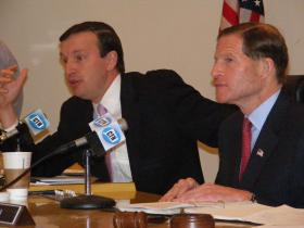 Chris Murphy and Richard Blumenthal at the U.S. Senate field hearing on the Metro-North power failure at Bridgeport City Hall, on Oct. 28 2013.