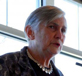 Education historian Diane Ravitch speaking to Long Island school superintendents