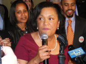 Toni Harp giving her victory speech at Kelly's Restaurant in New Haven on Tuesday night.