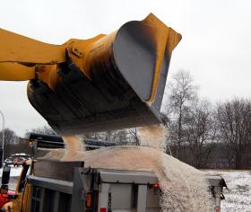 Loading salt trucks at public works facility in Commack, Long Island