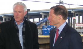 Bridgeport Mayor Bill Finch and US Sen. Richard Blumenthal at Bridgeport Train Station