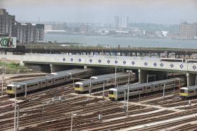 Long Island Rail Road trains sit idle during 1994 labor strike