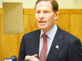 US Senator Richard Blumenthal talking to the media after his visit to the VA Healthcare System hospital in West Haven on Friday Feb. 21, 2014.