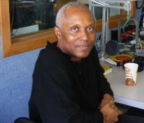 Okey Ndibe at the WSHU Public Radio studios in Fairfield, Connecticut.