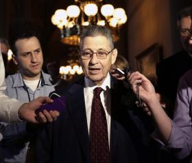 Assembly Speaker Sheldon Silver (D-Manhattan) answers reporter questions following budget session