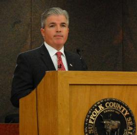 Suffolk County Executive Steve Bellone delivering his State of the County address