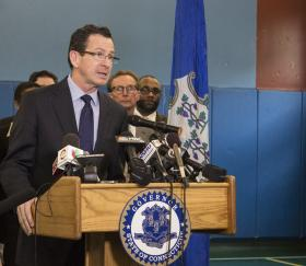 Conn. Governor Dannel Malloy announcing legislation to ban the sale of e-cigarettes to minors at the Trinity College Boys and Girl Club in Hartford on Wednesday. The Boys and Girls Clubs in Connecticut conduct a tobacco resistance and awareness program for teenagers funded by the Tobacco and Health Trust Fund.
