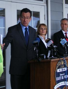 Gov. Dannel Malloy at East Haven's Cosey Beach