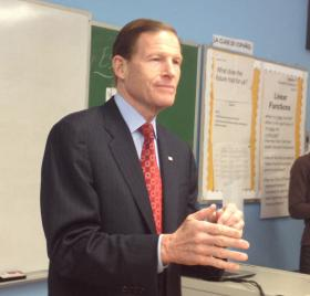 U.S. Senator Richard Blumenthal at Common Ground High School in New Haven on Monday.