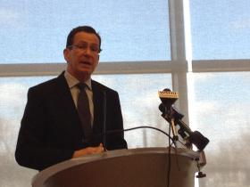 Conn. Governor Dannel Malloy at Housatonic Community College on Monday