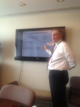 Mayor David Martin of Stamford presents a summary of his recommended budget for the 2014-5 fiscal year at a press briefing at the Government Center Monday.