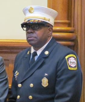New Haven Fire Chief Allyn Wright at a recent press conference