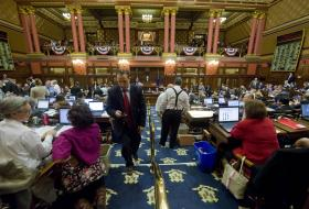 Lawmakers at work in the Connecticut House of Representatives