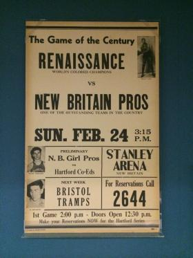 "A placard on display at the New York Historical Society for a game in 1946 between the New York Renaissance and the New Britain Pros. The placard features William ""Dolly"" King, who starred at Long Island University, before spending several seasons with the Renaissance."