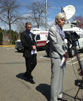 Milford Superintendent of Schools Elizabeth Feser and Milford Police Chief Keith Mello at a press conference about the incident at Jonathan Law High School