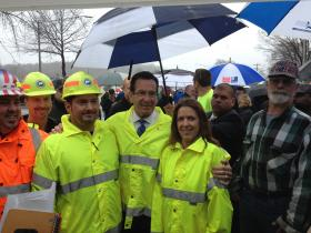 Governor Dannel Malloy and Conn. Department of Transportation workers in Waterbury on Tuesday