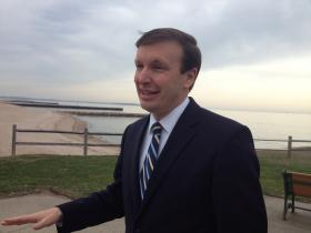 U.S. Senator Chris Murphy of Connecticut at the beach in West Haven on Friday.