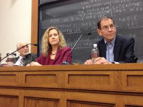 From left, Edgar S. Cahn, Jesselyn Radack and Bruce Fein at Yale Law School on Tuesday