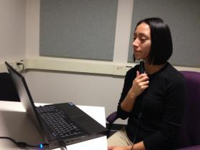 Ultrasound and laptop being used during a therapy session at Haskins Laboratories in New Haven, Conn.