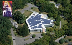 Aerial view of solar installation on the roof of Temple Beth El