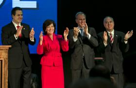 Nominees N.Y. Gov. Andrew Cuomo, his running mate, former Congresswoman Kathy Hochul, state Attorney Gen. Eric Schneiderman, and state Comptroller Thomas DiNapoli, left to right.
