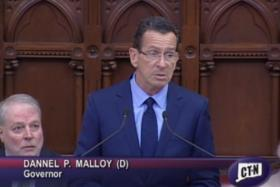 Governor Dannel Malloy speaking at the swearing in ceremony for 16 new Conn Superior Court judges at the state Capitol in Hartford on May 15th, 2014