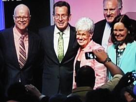 Comptroller Kevin Lembo, Gov. Dannel Malloy, Lt. Gov. Nancy Wyman, Attorney General George Jepson, and Secretary of the State Denise Merrill, after they were endorsed by the delegates at the Conn Democratic Part Convention in Hartford on Friday May 16, 2014