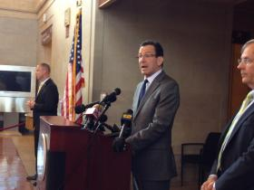 Conn. Gov. Dannel Malloy announcing the Metro-North upgrades at New Haven's Union Square Station
