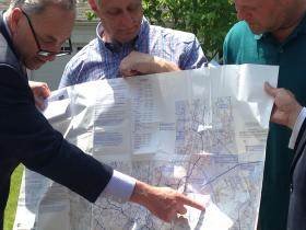 New York Senator Chuck Schumer (D-Brooklyn) showing his proposed helicopter route over Long Island Sound