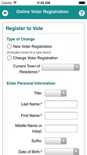 A screen shot from the new voter registration app.