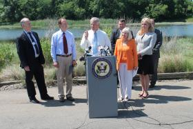 Congressman Steve Israel and other Long Island officials at the news conference  at North Hempstead Beach Park on Monday June 23, 2014.