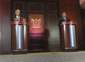 Republlican candidates for governor Tom Foley, left, and John McKinney square off during a debate held at the Hartford Courant building Thursday, July 17, 2014, for the two Republicans running for governor in Connecticut. Foley is a businessman from Greenwich and former U.S. ambassador to Ireland. McKinney, of Fairfield, is the Senate minority leader in Connecticut.