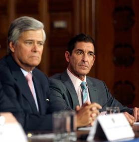 Senate co-leader Jeff Klein, D-Bronx (right) beside Majority Leader Dean Skelos, R-Rockville Centre