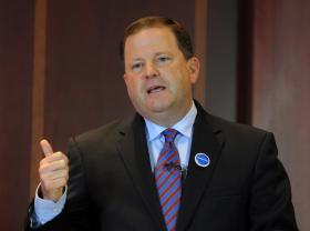 Republican candidate for governor John McKinney speaks at a debate held at the Hartford Courant building Thursday, July 17, 2014, for the two Republicans running for governor in Connecticut. McKinney, of Fairfield, is the Senate minority leader in Connecticut. Foley is a businessman from Greenwich and former U.S. ambassador to Ireland. McKinney, of Fairfield, is the Senate minority leader in Connecticut.