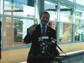 U.S. Sen. Richard Blumenthal at the Metro-North station in West Haven, Conn. on Tuesday.