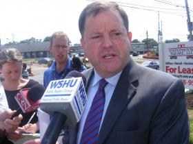 Conn GOP gubernatorial primary candidate John McKinney announcing his tax plan on Main Street in Stratford, Conn, on Thursday July 31, 2014.