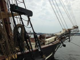 "The replica ""Freedom Schooner Amistad"" in New Haven on Wednesday"