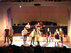 "The cast of ""Guns: A Cabaret"" on stage at Summer Theater of New Canaan"