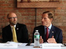 Jim Ehrman of Love 146 (left) and U.S. Senator Richard Blumenthal in New Haven on Monday, Aug. 25, 2014.
