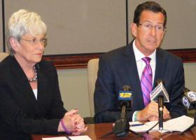 Conn. Democratic Governor Dannel Malloy, and Lt. Governor Nancy Wyman (left) at Sikorsky Aircraft in Stratford on Friday,  Aug. 22, 2014.