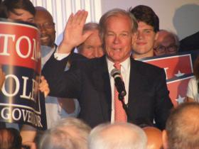 Conn Republican candidate for governor Tom Foley with supporters at the Villa Rosa Pontelandolfo Club  in Waterbury celebrating his win over state Senate Minority Leader John McKinney on primary night Aug. 12th 2014.