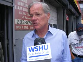Tom Foley, Conn GOP gubernatorial candidate, campaigning on East Main Street in Bridgeport on Friday August 15, 2014